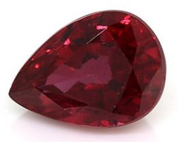 0.68 ct Pear Shape Burmese Ruby  (Intense Red)