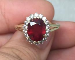 (B8) Superb $1400 3.50ct Brand New Ruby Composite Ring 10K YG