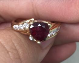 (B9)Brand New 2.0ct Heart Shape Ruby Composite & Wht Sapphire Ring 10K