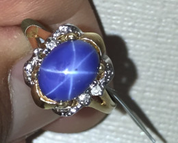 (B11)Superb $2000 Nat 2.75cts Star Blue Sapphire Ring! 14K YG