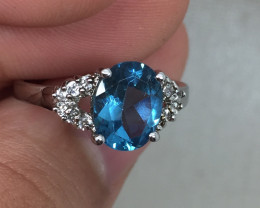 (B12) Magnificent $1875 Nat. 2.25ct Blue Topaz & Diamond Ring 10K WG