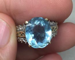(B14) Stunning $1700 Nat. 5.35ct Aquamarine Ring 10K YG 3.8gr