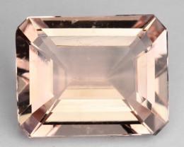 ~BEAUTIFUL~ 2.76 Cts Natural Peach Pink Morganite Octagon Cut Brazil