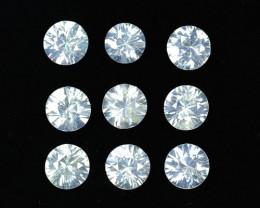 5.69 Cts Natural Sparkling White Zircon 5mm Round Cut 9 Pcs Tanzania