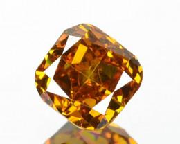 ~UNTREATED~ 0.19 Cts Natural Cognac Orange Diamond Cushion Africa