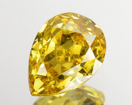 ~UNTREATED~ 0.22 Cts Natural Golden Yellow Diamond Pear Africa