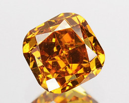 ~UNTREATED~ 0.27 Cts Natural Cognac Orange Diamond Cushion Africa