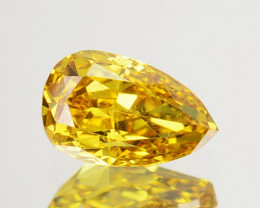 ~UNTREATED~ 0.28 Cts Natural Golden Yellow Diamond Pear Africa