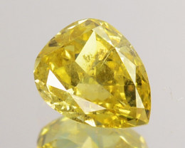 ~UNTREATED~ 0.22 Cts Natural Canary Yellow Diamond Pear Africa