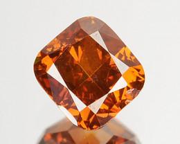 ~UNTREATED~ 0.26 Cts Natural Cognac Orange Diamond Cushion Africa