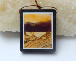 86cts Black Stone And picture jasperRectangle Intarsia Pendant (A777)