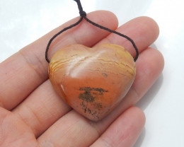 81.5cts lovely natural ocean jasper heart pendant beads semi-gem (A768)
