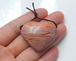 90cts Unique natural heart ocean jasper pendant beads semi-gem (A681)