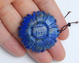 latest natural lapis lazuli carved flower pendant healing stone (A692)