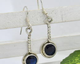 EARRINGS 925 STERLING SILVER BLUE SAPPHIRE  NATURAL GEMSTONE JE1336