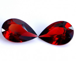 6.25 CT Natural - Unheated Red Rhodolite Garnet Faceted Gemstone Pair