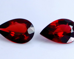 6.05 CT Natural - Unheated Red Rhodolite Garnet Faceted Gemstone Pair