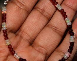 13 Crt Natural Ethiopian Fire Opal & Garnet Beads bracelet 53