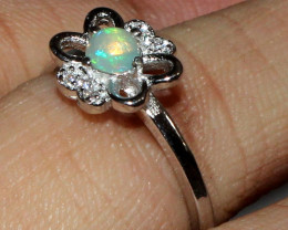 Natural Ethiopian Welo Fire Opal 925 Silver Ring Size ( 6 US) 34