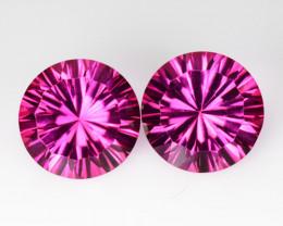 ~Radiant Cut~ 4.29 Cts Beautiful Pink Topaz 8 mm Round 2 Pcs Brazil