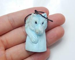 70cts hand carved winter gemstone blue larimar bear pendant  (A702)