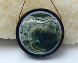 72.5cts natural black stone ,ocean jasper intarsia round pendant beads (A69