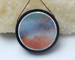 110.5cts black stone and ocean jasper round intarsia pendant bead  (A698)