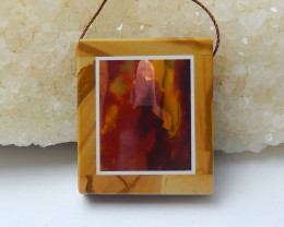 91.5cts natural mookite and picture jasper rectangle pendant(A760)