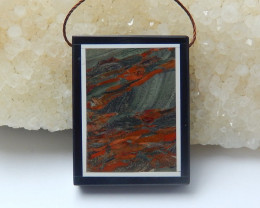 78.5cts  natural black stone ,howlite and jasper intarsia pendant bead  (A6