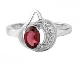 Rhodolite 925 Sterling silver Moon ring #666