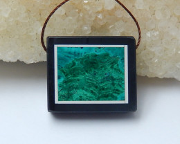 38cts  natural black stone and malachite pendant beads semi-gem (A671)