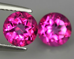3.60 CTS WONDERFUL COLOR 7.20 MM ROUND PINK TOPAZ 2 PCS