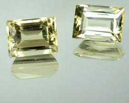 2.10 Cts Natural Mint Yellow Aquamarine Baguette Cut 2 Pcs Brazil