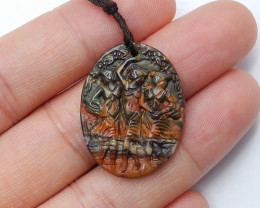 13.5cts Hand Carved Indian Dancing Women Natural Multi Color Jasper (A765)