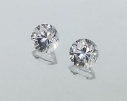 2.69 Carat VVS Zircon Pair Diamond White Color Exquisite Quality !