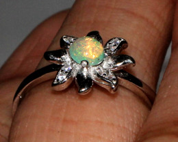 Natural Ethiopian Welo Fire Opal 925 Silver Ring Size ( 6.5 US) 71