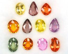 5.20 Cts Natural Fancy Sapphire  Pear Oval 11 Pcs Sri Lanka - 6x4 & 5x4