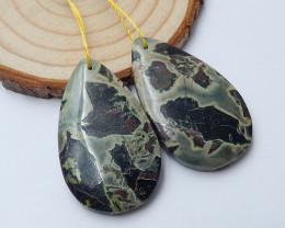 53cts Bamboo jasper earrings ,tear drop earrings ,healing stone (A713)