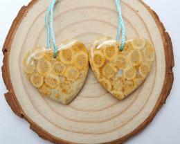 46.5cts Coral fossil  earrings ,heart shape earrings ,healing stone (A775)