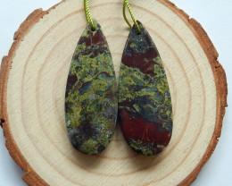 51.5cts Dragon blood earrings ,tear drop earrings ,healing stone (A731)