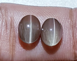 4.34ct Parcel Pair of  Beautiful Oval Cabochon Sillimanite Cat's Eye