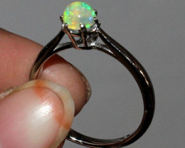 Natural Ethiopian Welo Fire Opal 925 Silver Ring Size ( 4.5 US) 35