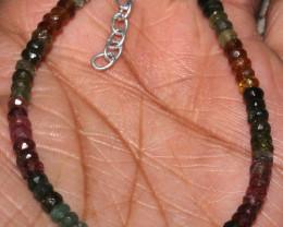 23 Crt Natural Multi Tourmaline Faceted Beads Bracelet 65