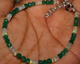 Natural Ethiopian Welo Fire Opal & Onyx Beads Bracelet 63