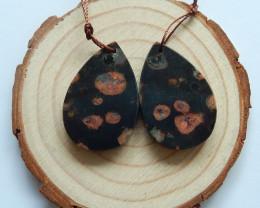 47cts Poppy jasper earrings ,tear drop earrings ,healing stone (A741)