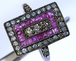 20.75CTS ART DECO DIAMOND RUBY  CLUSTER RING SG-2813