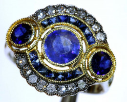 13.30CTS ART DECO DIAMOND SAPPHIRE CLUSTER RING SG-2816
