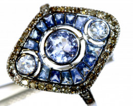 10.25CTS ART DECO DIAMOND  SAPPHIRE CLUSTER RING SG-2820