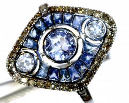 10.25CTS ART DECO DIAMOND  SAPPHIRE CLUSTER RING SG-2820