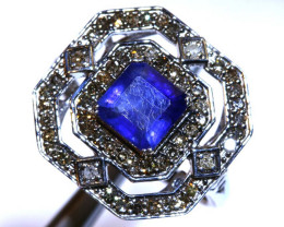 16.95CTS ART DECO DIAMOND  SAPPHIRE CLUSTER RING SG-2822